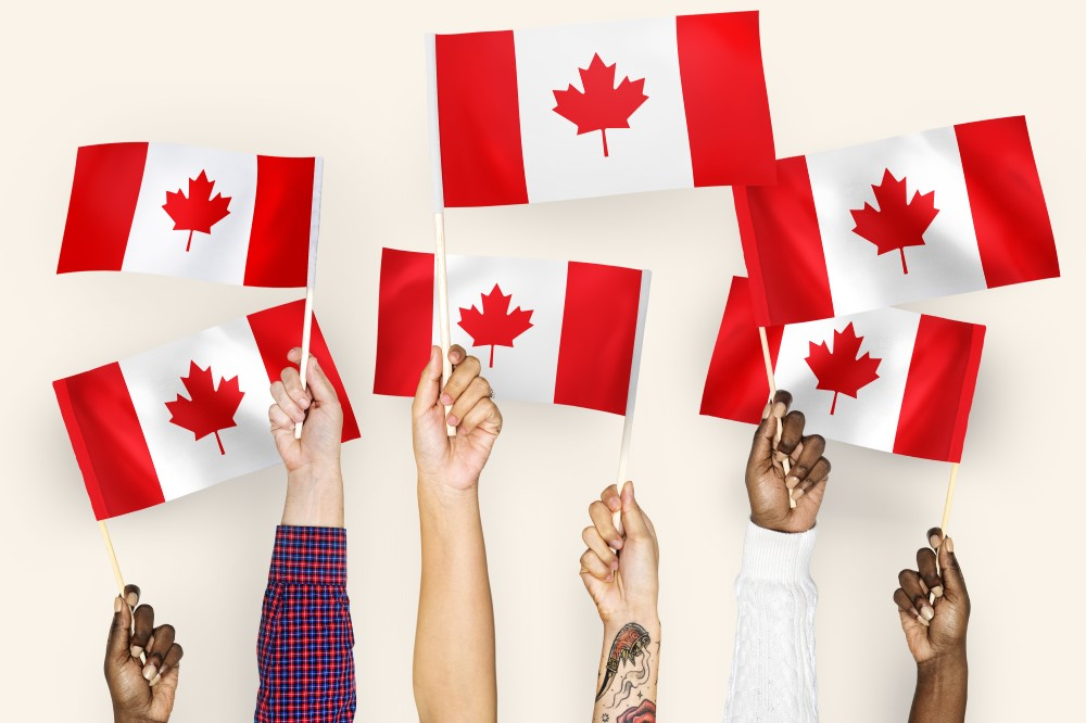 Different hands are holding small Canadian flags